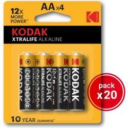 KODAK XTRALIFE ALKALINE AA 20 PACKS DE 4UDS